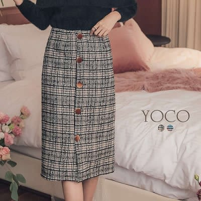 東京著衣【YOCO】雅致名伶絨布排釦復古格紋織紋裙-S.M.L(182514)