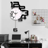 北歐家用大氣個性創意靜音掛鐘現代鐘錶時尚藝術客廳臥室石英時鐘 創想數位igo