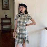 旗袍夏季2020新款復古旗袍改良立領格子不規則短袖連身裙女裝裙子ins 非凡小鋪