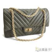 鍊帶包-法國盒子.氣質女神V型紋時尚鍊帶包(綠色)8371-C#