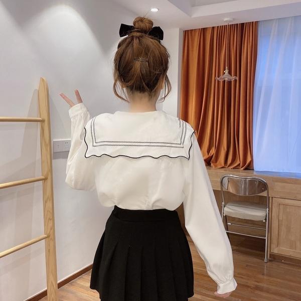 (免運)DE shop - 娃娃領減齡泡泡長袖白襯衫設計感 ~GU-2529