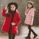 女童毛呢外套加厚童裝秋冬裝中大兒童毛呢子連帽大衣