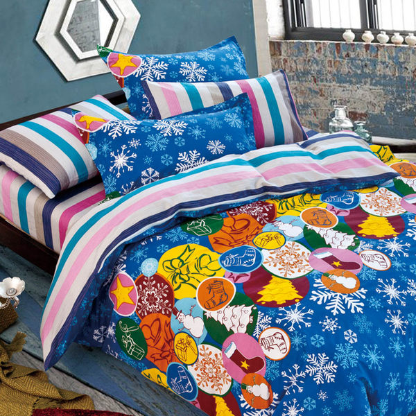 雙人/兩用被床包組-四件式100%精梳純棉【FOCA-叮噹時節】