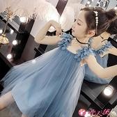 女童吊帶洋裝 女童洋氣公主裙2021新款韓版兒童網紅裙子女孩夏裝時髦吊帶連身裙 小天使 99免運