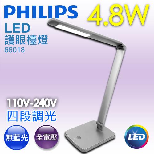 【有燈氏】PHILIPS 飛利浦 LED 4.8W 護眼檯燈 無藍光 不眩光 可調光【66018】