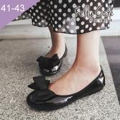 大尺碼女鞋-凱莉密碼-秋冬新色漆皮緞帶蝴蝶結蛋捲平底鞋娃娃鞋1cm(41-43)【GL728-8】亮黑