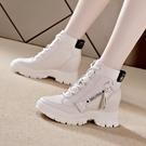 靴子 短靴 高幫鞋女內增高小白鞋女2021春秋新品爆款拉鏈短靴厚底休閒馬丁靴