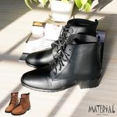 短靴 小方頭簡約綁帶短靴 MA女鞋 T6191