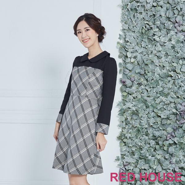 【RED HOUSE 蕾赫斯】格紋拼接洋裝(黑色)