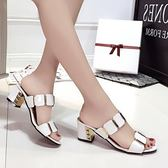 涼鞋女夏中跟高跟韓版一字拖粗跟女士涼拖鞋時尚女鞋子大碼涼女鞋『韓女王』