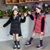女童加厚背心外套 秋冬保暖新品兒童中長版羽絨外套