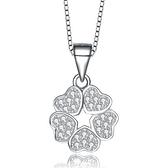 項鍊+925純銀 鑲鑽吊墜-愛心花造型情人節生日禮物女飾品73gu44【時尚巴黎】