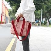 帆布手提包-字母印花拼色織帶女側背包6色73xb24[巴黎精品]