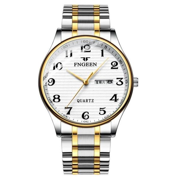 手錶流行男錶2019新款雙日歷大數字石英錶男士商務防水老年錶鋼帶時尚潮手錶男