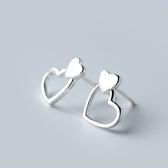 925純銀耳環(耳針式)-簡約雙愛心生日聖誕節交換禮物女飾品73dr153[時尚巴黎]