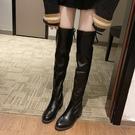 膝上靴 2019秋冬季長筒過膝顯瘦瘦靴子女英倫風復古工裝靴小個子加絨長靴【快速出貨八五折】