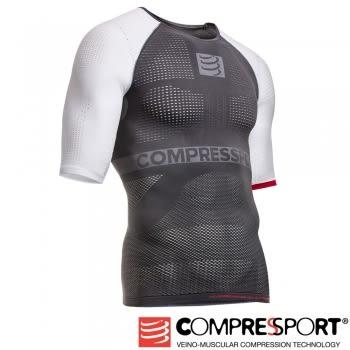【線上體育】COMPRESPPORT  CS-OnOff 短袖 白紅 L