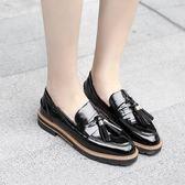 流蘇紳士小皮鞋 粗跟圓頭低幫工作鞋舒適輕便鞋《小師妹》sm1338