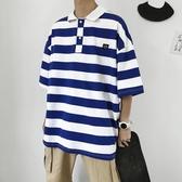 潮牌情侶裝t恤男網紅潮流ins韓版條紋polo衫夏季寬鬆百搭半袖上衣