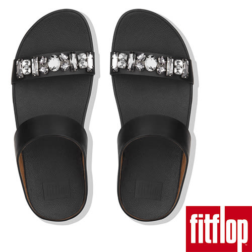 【FitFlop】FINO BEJEWELLED LEATHER SLIDES(黑色)