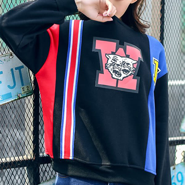 現貨-T恤-黑紅藍配色老虎印花加絨上衣 Kiwi Shop奇異果1123【SPK8379】
