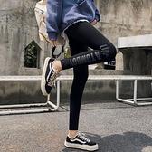 內搭褲 純棉打底褲女外穿春夏款顯瘦字母八分九分小腳黑色緊身薄長褲子潮  店慶降價