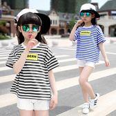 童裝2018夏裝新品韓版中大女童條紋短袖字母寬鬆t恤兒童純棉上衣 美芭