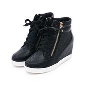 MICHELLE PARK 自信格調 / 水鑽雙拉練內增高休閒鞋-黑