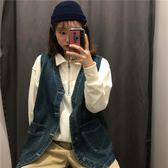 背心外套/韓版學生牛仔寬松V領無袖馬夾開衫潮潮