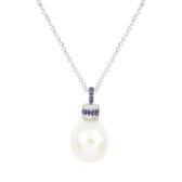 apm MONACO法國精品珠寶 閃耀銀色鑲鋯巴洛克珍珠墜飾可調整長項鍊 AC5147M
