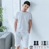 【OBIYUAN】運動套裝 厚磅細絨 素面短T+休閒短褲 兩件一組 共6色【JG65317】