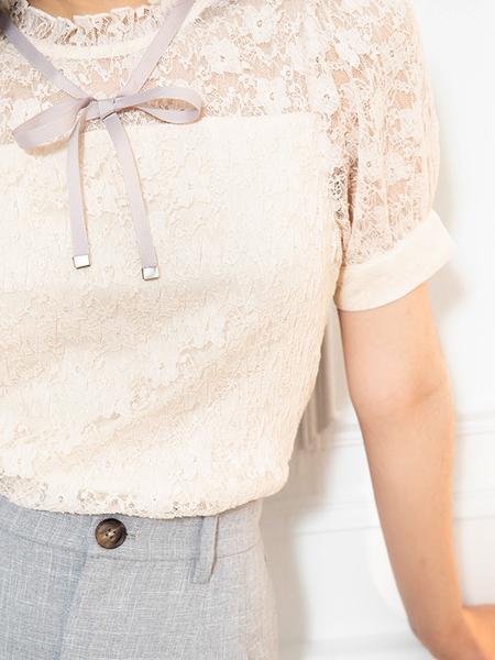 單一優惠價[H2O]壓褶蕾絲綁帶蝴蝶結公主泡泡五分袖上衣 - 白/杏/淺綠色 #0675013