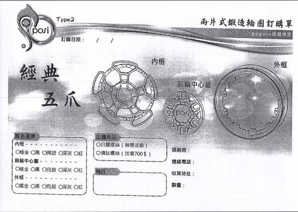 機車兄弟【POSI GOGORO 經典五爪 兩片式鍛造輪框】