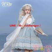 Lolita裙浮生夢夏季優雅甜美雪紡純色短袖op洛麗塔連衣裙【聚可愛】