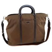 【奢華時尚】秒殺推薦!PRADA 咖啡色防水帆布手提肩背兩用購物包(八八成新)#23808