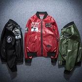 空軍夾克 MA1-美式臂章簡約個性飛行員男軍裝外套73pf25[巴黎精品]