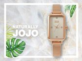 【時間道】NATURALLY JOJO 氣質簡約方型晶鑽刻度仕女腕錶 / 全玫瑰金米蘭帶(JO96915-80R)免運費