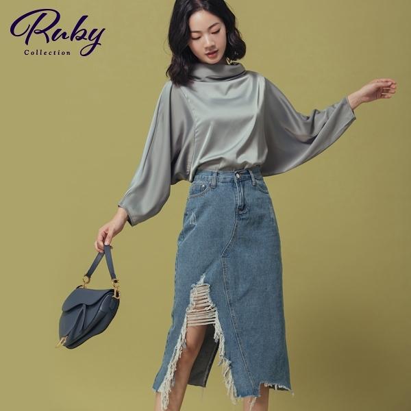 裙子 RCha。刷破後開衩中長牛仔裙-Ruby s 露比午茶