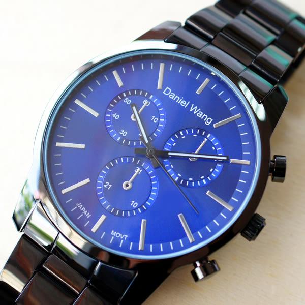 Daniel Wang 3136-IP 霸氣大錶面經典仿三眼石英黑框金屬男錶 - 藍面銀針