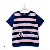 【INI】注目條紋、小熊拼布可愛好感上衣.粉色