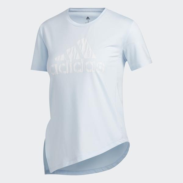 Adidas Badge of Sport 女款水藍色側綁帶短袖上衣-NO.FJ7327