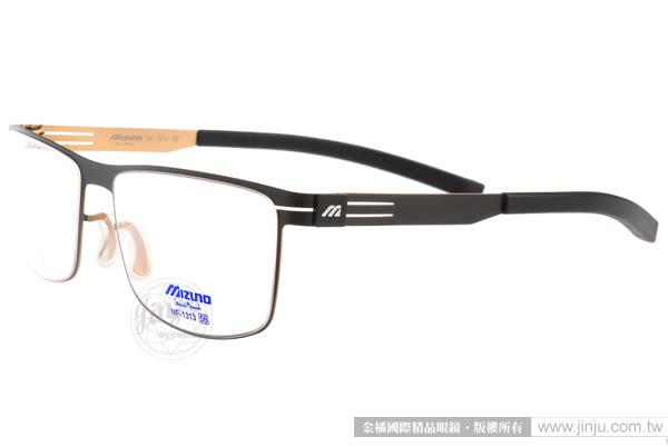 MIZUNO 美津濃 眼鏡 MF1313 C5E (黑-金) β 鈦金屬系列休閒大框款 # 金橘眼鏡