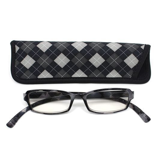 日本專利設計老花眼鏡 Neck Readers (紳士菱格紋) 可濾藍光、抗紫外線【S Life 若返生活】
