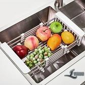 廚房置物架瀝水架伸縮碗筷瀝水架不銹鋼水槽架【邻家小鎮】