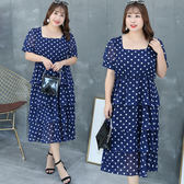 中大尺碼~甜美蛋糕裙短袖連衣裙(XL~4XL)