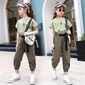 女童運動套裝 女童套裝夏季新款中大童洋氣短袖12兒童夏裝薄款時髦工裝褲兩件套 快速出貨