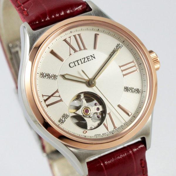 【萬年鐘錶】CITIZEN 日製機械錶 皮帶半金 女錶   施華洛世奇水晶 PC1008-03A