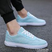 夏季帆布鞋男鞋子韓版潮流百搭休閒藍色布鞋2018新款潮鞋男士板鞋-Ifashion
