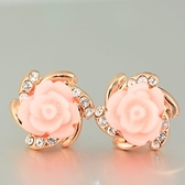 耳環 925純銀鑲鑽-玫瑰造型生日情人節禮物女耳針73gt161【時尚巴黎】