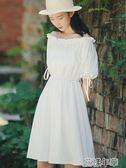 流行很仙的桔梗裙超仙女小個子森繫一字肩連身裙學生 花樣年華